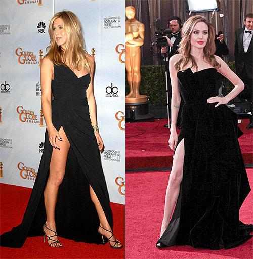 Dress Battle: Jennifer Aniston & Angelina Jolie In Thigh-Baring ...